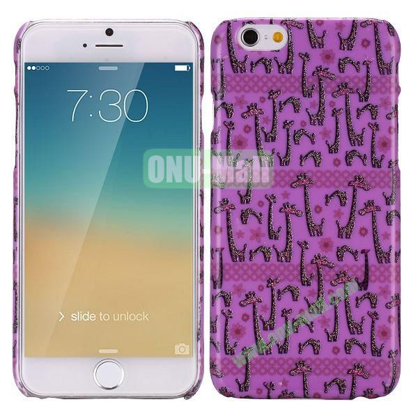 Glitter Powder Romantic Pattern PC Hard Case for iPhone 6 Plus 5.5 inch (Many Giraffes)