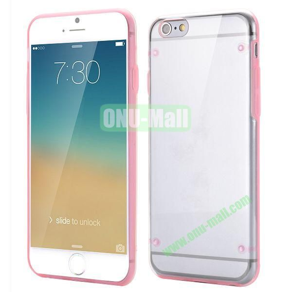Ultrathin Transparent PC and TPU Back Case for iPhone 6 4.7 inch (Pink)