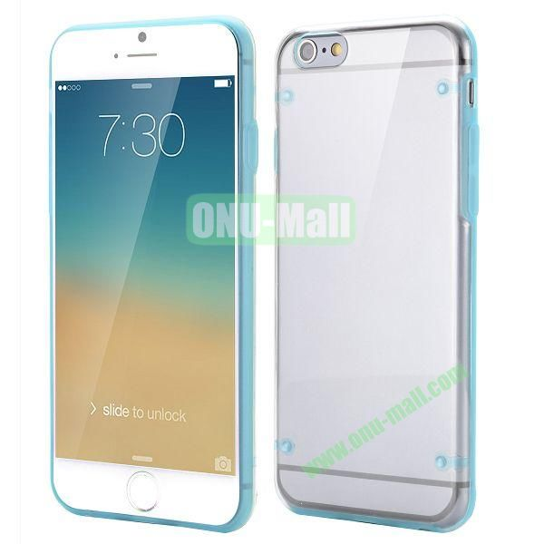Ultrathin Transparent PC and TPU Back Case for iPhone 6 Plus 5.5 inch (Blue)