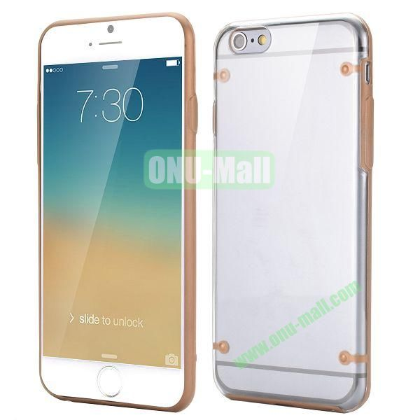 Ultrathin Transparent PC and TPU Back Case for iPhone 6 4.7 inch (Brown)