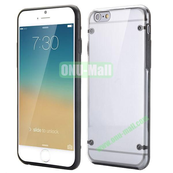Ultrathin Transparent PC and TPU Back Case for iPhone 6 4.7 inch (Black)