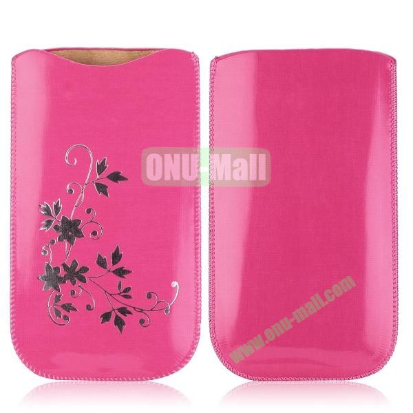 Flowers Pattern Pouch Bag Leather Case for iPhone 6 Plus 5.5 inch (Rose)