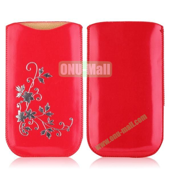Flowers Pattern Pouch Bag Leather Case for iPhone 6 Plus 5.5 inch (Red)