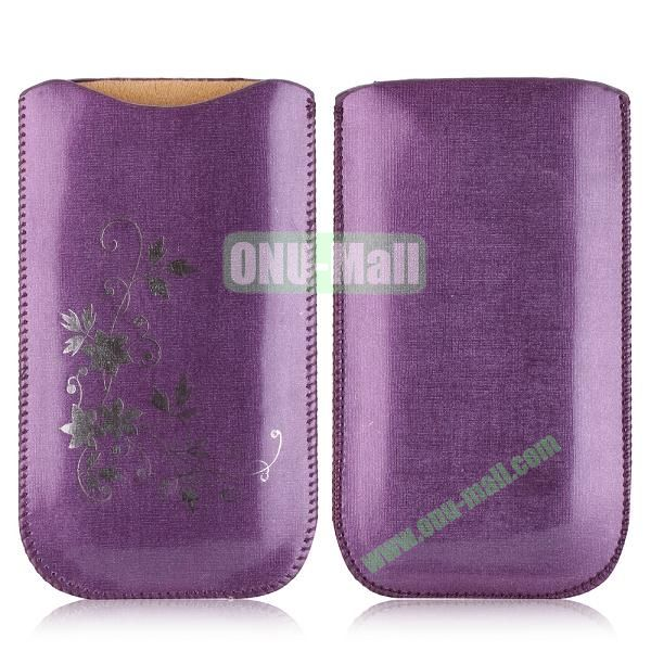 Flowers Pattern Pouch Bag Leather Case for iPhone 6 Plus 5.5 inch (Purple)