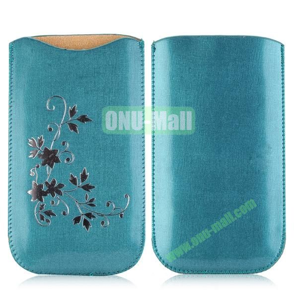 Flowers Pattern Pouch Bag Leather Case for iPhone 6 Plus 5.5 inch (Blue)