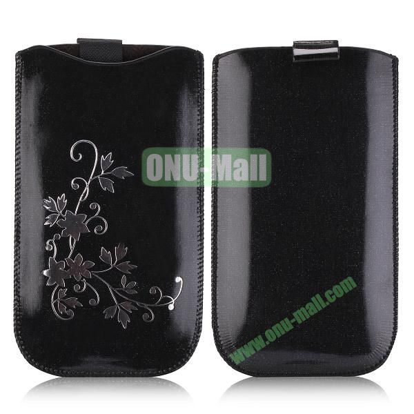 Flowers Pattern Pouch Bag Leather Case for iPhone 6 Plus 5.5 inch (Black)
