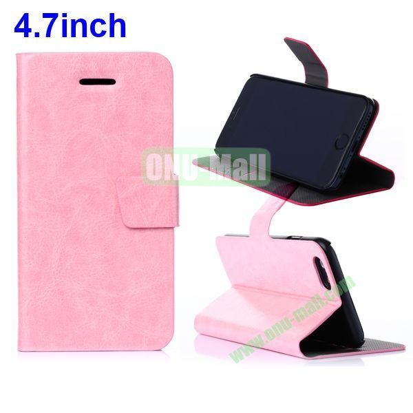 Crazy Horse Texture Flip leather cover for iPhone 6 4.7 Inch (Pink)