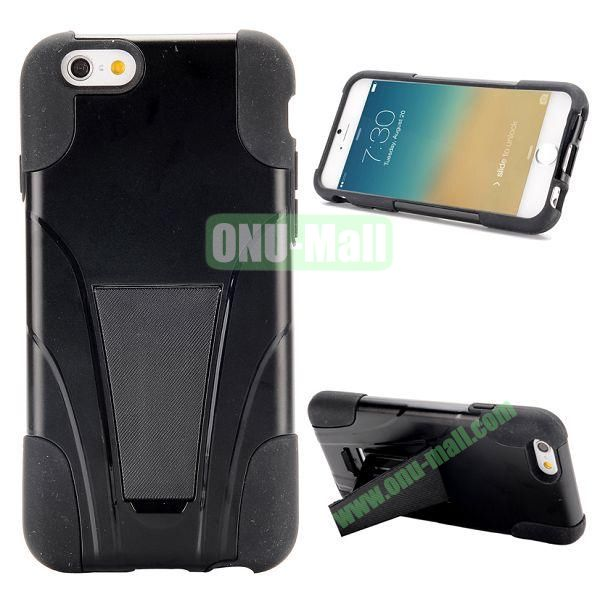 2 in 1 Detachable Silicone + PC Hard Hybrid Case for iPhone 6 with a Kickstand 4.7 inch  (Black)