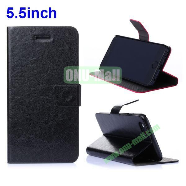 Crazy Horse Texture Flip Stand Leather Case for iPhone 6 with Card Slots 5.5 inch (Black)