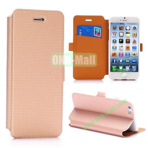 Ultrathin Rhombus Pattern Magnetic Flip Stand TPU + PU Leather Case for iPhone 6 5.5 inch (Champagne)