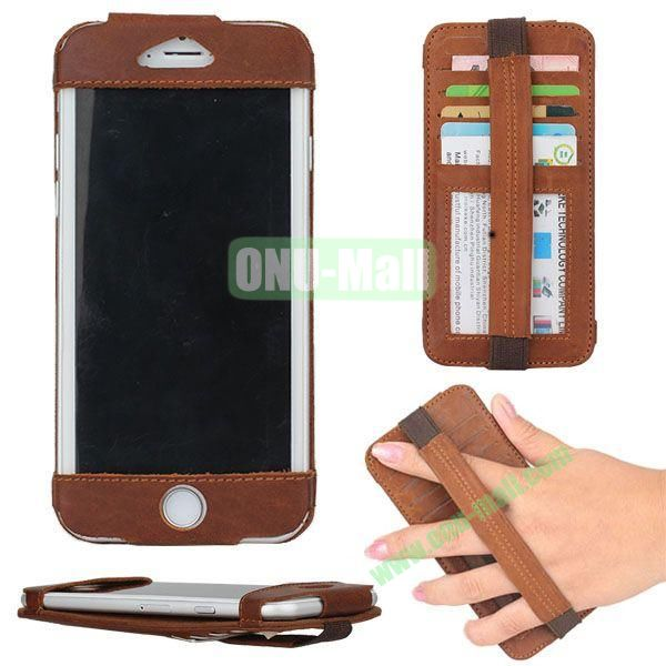 Retro Style Elastic Belt Leather Case for iPhone 6 Plus 5.5 inch with Card Slots (Brown)