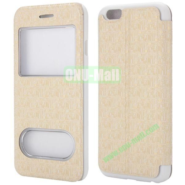 Maze Pattern Double Window View Style Flip Stand Leather Case for iPhone 6 Plus 5.5 inch (White)