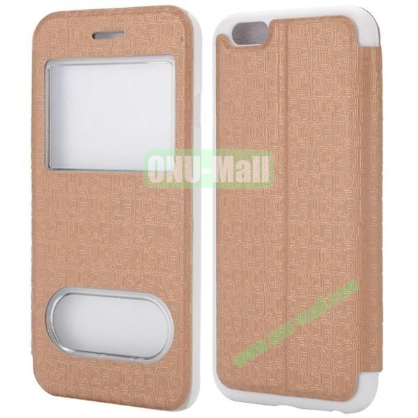 Maze Pattern Double Window View Style Flip Stand Leather Case for iPhone 6 Plus 5.5 inch (Brown)