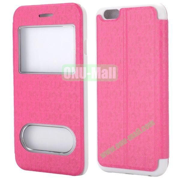 Maze Pattern Double Window View Style Flip Stand Leather Case for iPhone 6 Plus 5.5 inch (Rose)