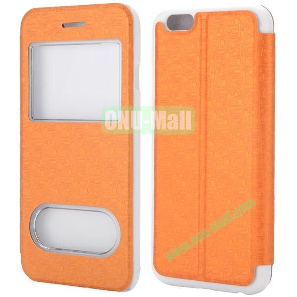 Maze Pattern Double Window View Style Flip Stand Leather Case for iPhone 6 Plus 5.5 inch (Orange)