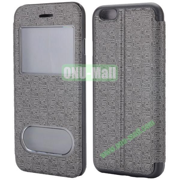 Maze Pattern Double Window View Style Flip Stand Leather Case for iPhone 6 Plus 5.5 inch (Black)