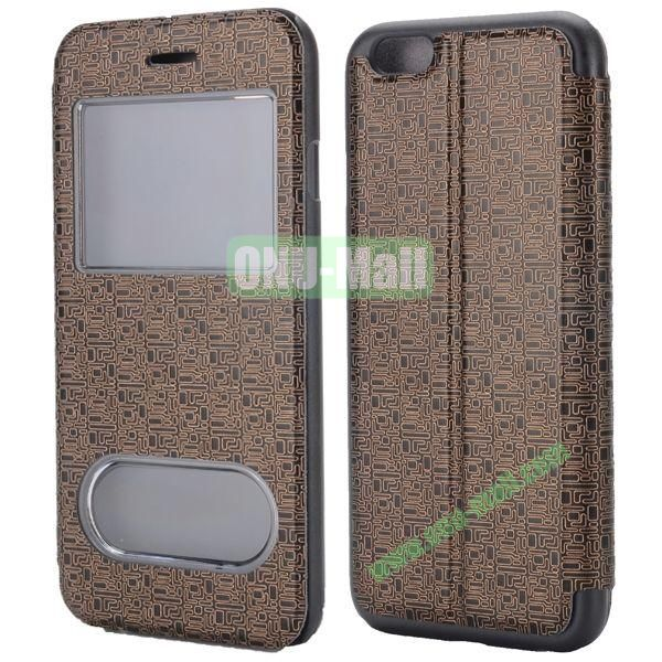 Maze Pattern Double Window View Style Flip Stand Leather Case for iPhone 6 Plus 5.5 inch (Coppery)