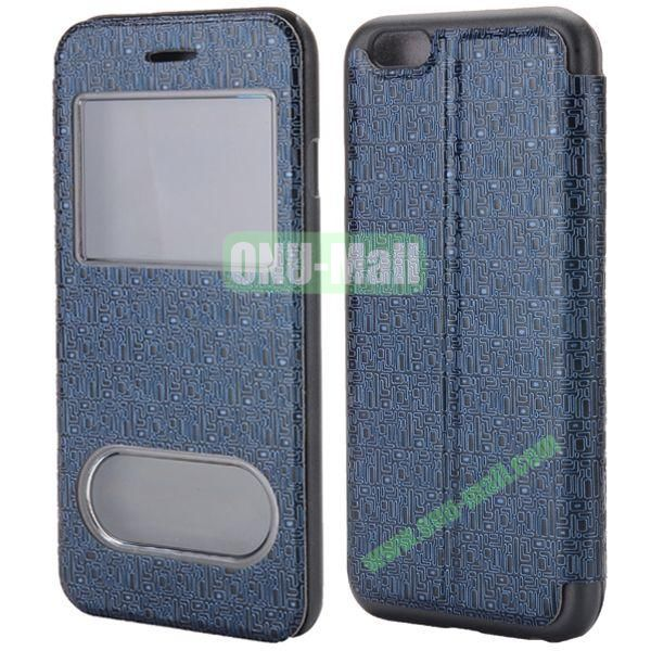 Maze Pattern Double Window View Style Flip Stand Leather Case for iPhone 6 Plus 5.5 inch (Dark Blue)