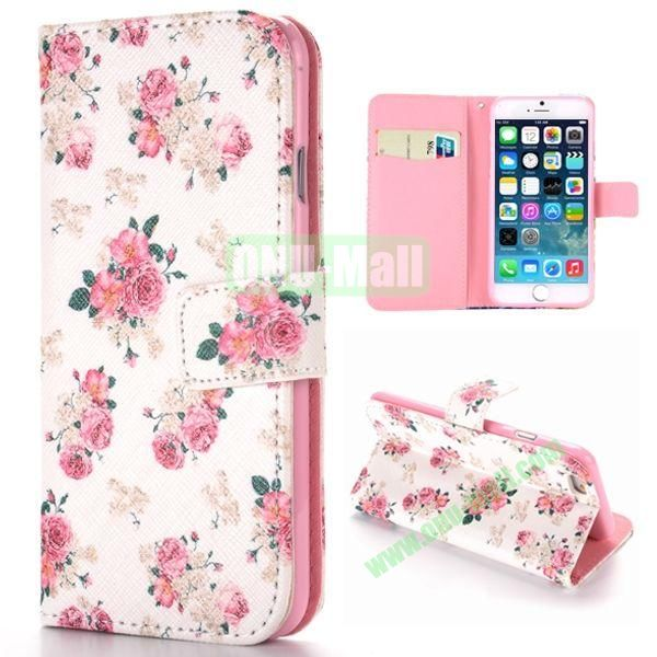 Beautiful Flowers Pattern Cross Texture Magnetic Flip Stand TPU+PU Leather Case for iPhone 6 4.7 inch