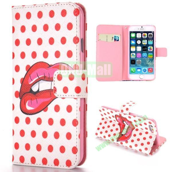 Polka Dots and Lip Print Pattern Cross Texture Magnetic Flip Stand TPU+PU Leather Case for iPhone 6 4.7 inch
