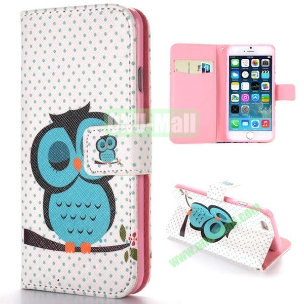 Sleeping Owl Pattern Cross Texture Magnetic Flip Stand TPU+PU Leather Case for iPhone 6 4.7 inch