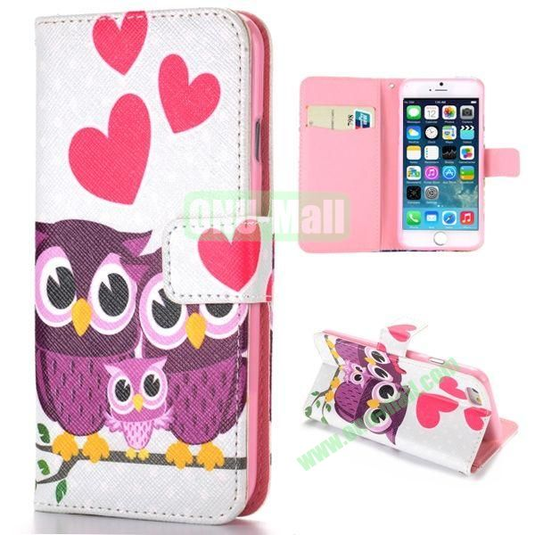 Lovely Owl Family Pattern Cross Texture Magnetic Flip Stand TPU+PU Leather Case for iPhone 6 4.7 inch
