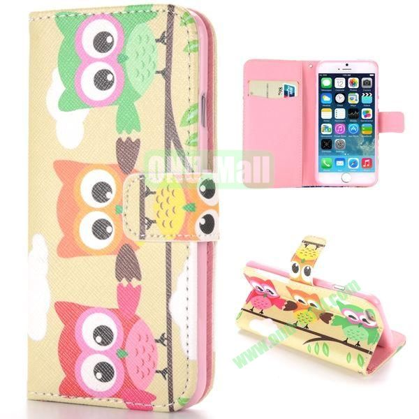 Three Owls Pattern Cross Texture Magnetic Flip Stand TPU+PU Leather Case for iPhone 6 4.7 inch