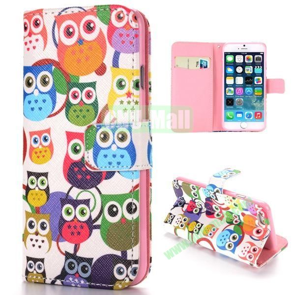 Colorized Owls Pattern Cross Texture Magnetic Flip Stand TPU+PU Leather Case for iPhone 6 4.7 inch
