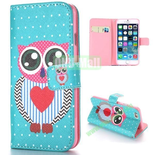 Cute Owl Pattern Cross Texture Magnetic Flip Stand TPU+PU Leather Case for iPhone 6 Plus 5.5 inch