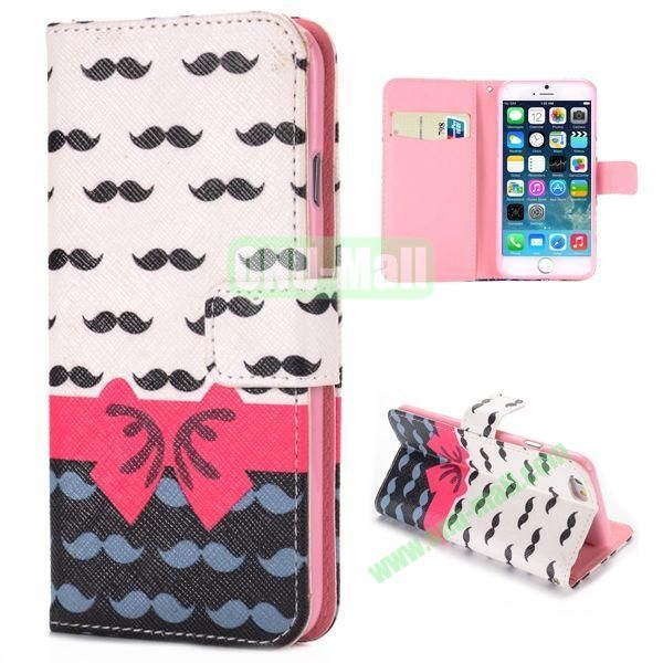 Bowknot and Moustache Pattern Cross Texture Magnetic Flip Stand TPU+PU Leather Case for iPhone 6 4.7 inch