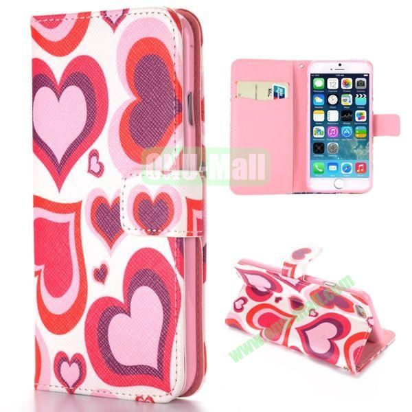 Sweet Love Hearts Pattern Cross Texture Magnetic Flip Stand TPU+PU Leather Case for iPhone 6 4.7 inch