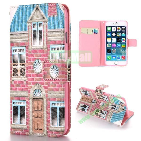 Unique House Pattern Cross Texture Magnetic Flip Stand TPU+PU Leather Case for iPhone 6 Plus 5.5 inch