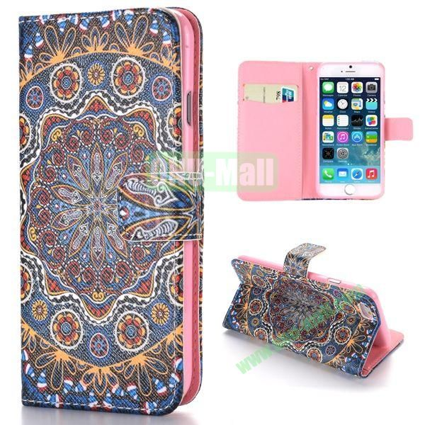 Tribe Pattern Cross Texture Magnetic Flip Stand TPU+PU Leather Case for iPhone 6 4.7 inch