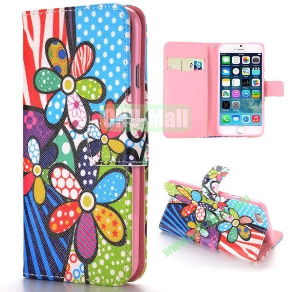 Colorized Flowers Pattern Cross Texture Magnetic Flip Stand TPU+PU Leather Case for iPhone 6 4.7 inch
