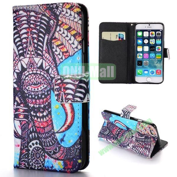 Tribal Elephant Pattern Cross Texture Magnetic Flip Stand TPU+PU Leather Case for iPhone 6 Plus 5.5 inch