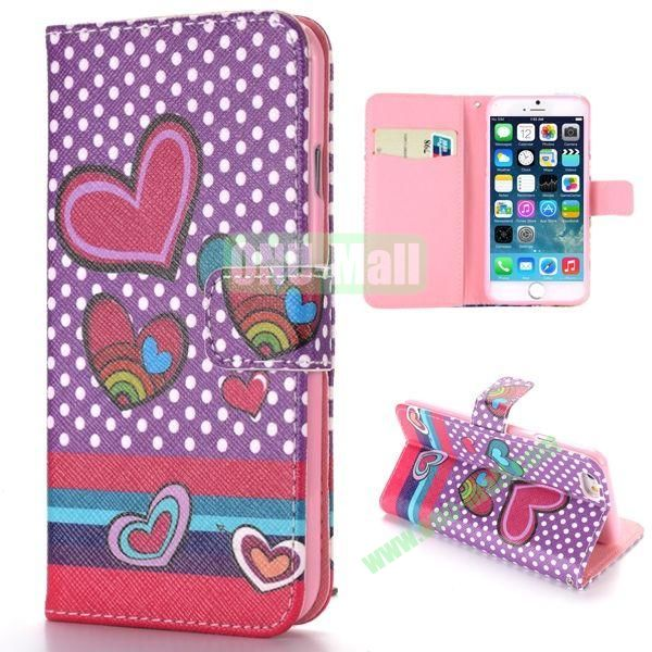 Colorized Love Heart Pattern Cross Texture Magnetic Flip Stand TPU+PU Leather Case for iPhone 6 4.7 inch