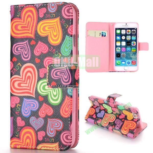 Multi-color Love Heart Pattern Cross Texture Magnetic Flip Stand TPU+PU Leather Case for iPhone 6 4.7 inch