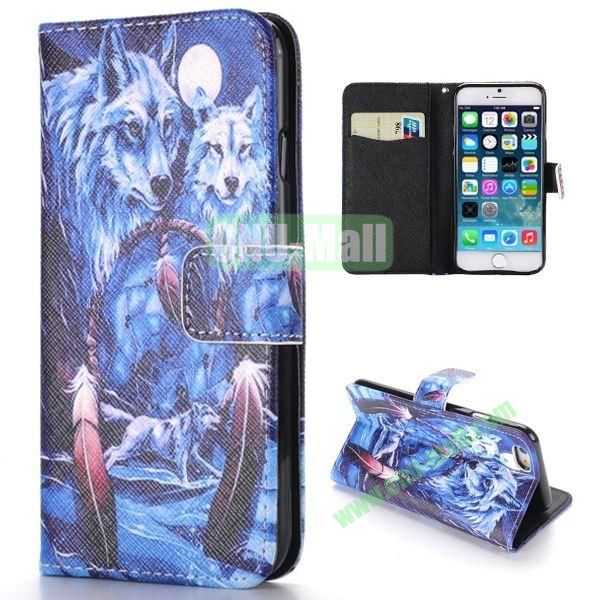 Wolf Pattern Cross Texture Magnetic Flip Stand TPU+PU Leather Case for iPhone 6 4.7 inch