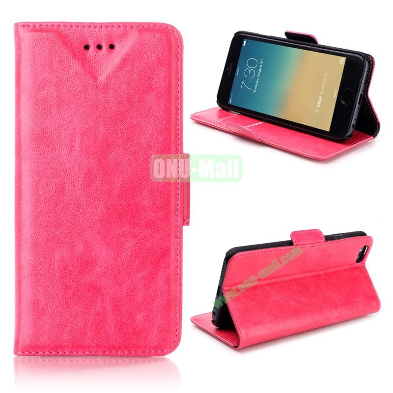 Oil Buffed Leather Flip with Card Slots Case for iPhone 6 Plus 5.5 inch (Rose)