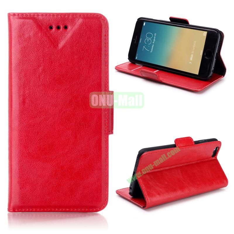 Oil Buffed Leather Flip with Card Slots Case for iPhone 6 Plus 5.5 inch (Red)