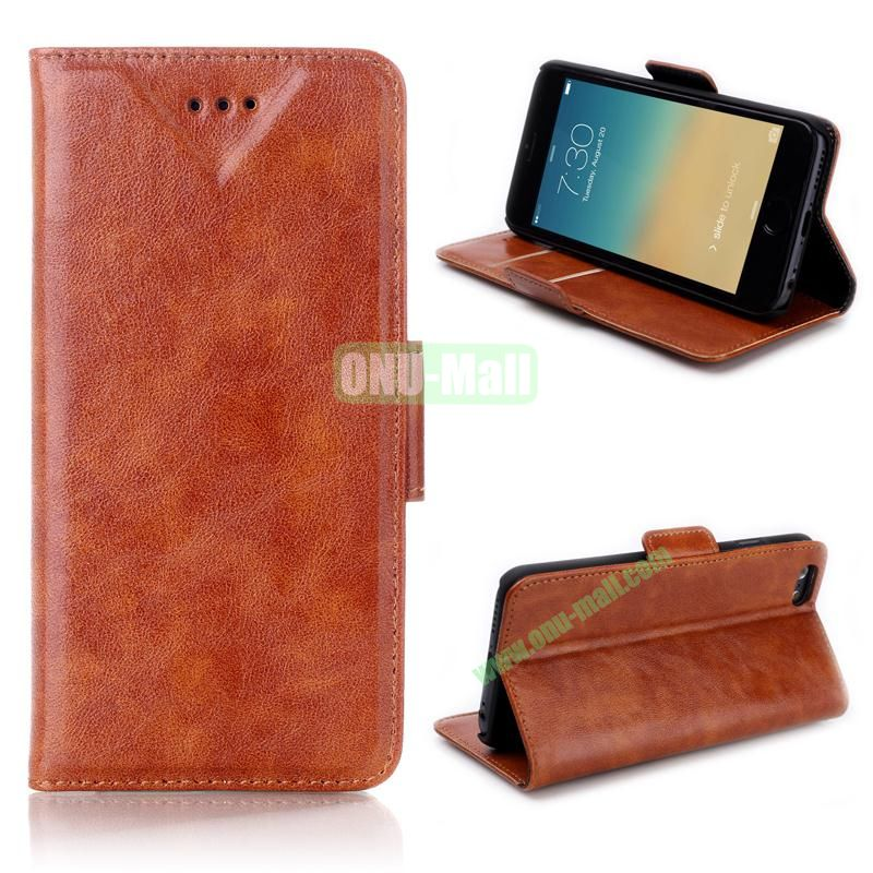 Oil Buffed Leather Flip with Card Slots Case for iPhone 6 Plus 5.5 inch (Brown)