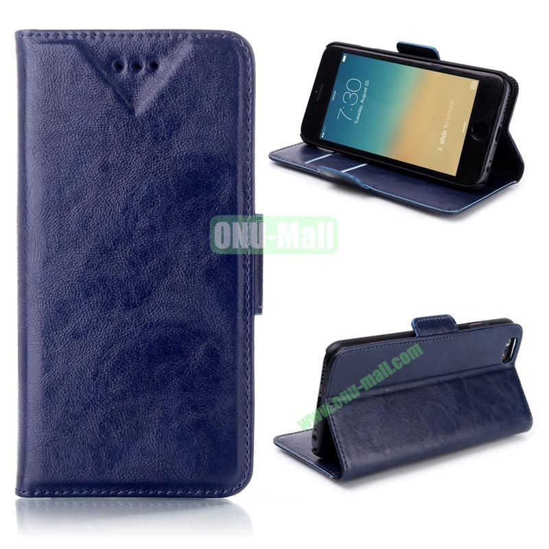Oil Buffed Leather Flip with Card Slots Case for iPhone 6 Plus 5.5 inch (Dark Blue)