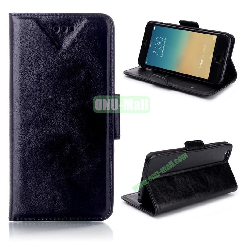 Oil Buffed Leather Flip with Card Slots Case for iPhone 6 Plus 5.5 inch (Black)