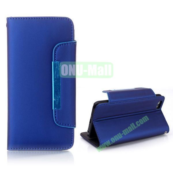 Fashion Wallet Style Flip Magnetic Leather Case for iPhone 6 Plus 5.5 inch with Strap (Blue)