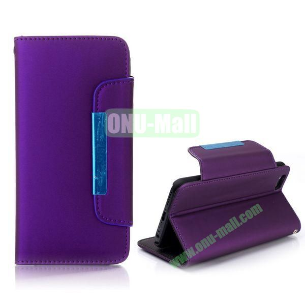Fashion Wallet Style Flip Magnetic Leather Case for iPhone 6 Plus 5.5 inch with Strap (Purple)