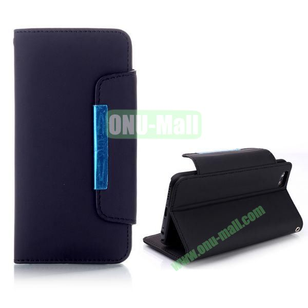 Fashion Wallet Style Flip Magnetic Leather Case for iPhone 6 Plus 5.5 inch with Strap (Black)