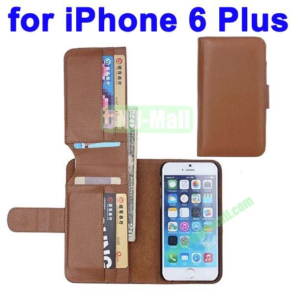 Litchi Texture Foldable Wallet Leather Case Cover for iPhone 6 Plus 5.5 inch with Card Slots (Brown)