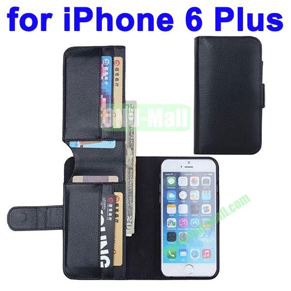 Litchi Texture Foldable Wallet Leather Case Cover for iPhone 6 Plus 5.5 inch with Card Slots (Black)
