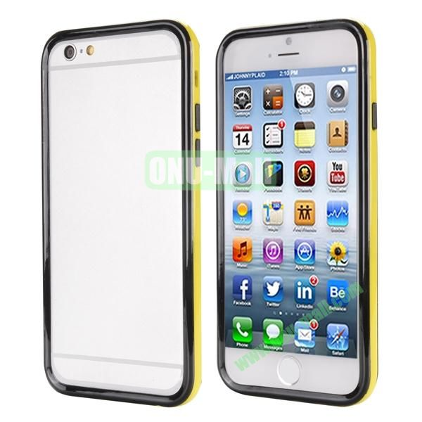 Ultrathin Double Color Detachable TPU and PC Bumper Frame Case for iPhone 6 Plus 5.5 inch (Black and Yellow)