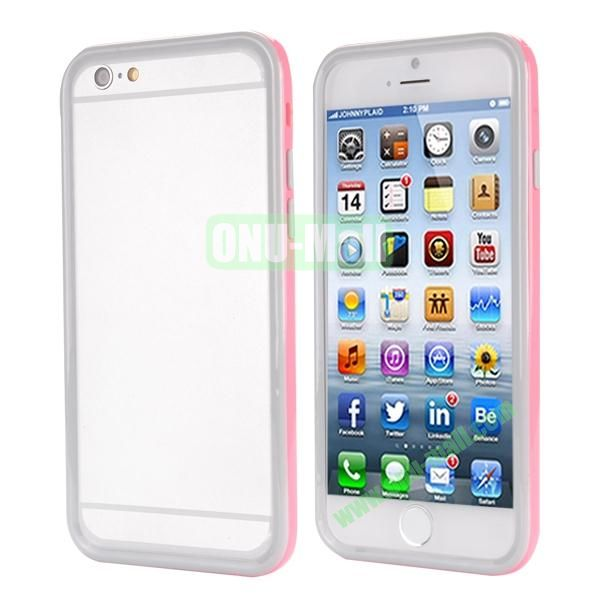 Ultrathin Double Color Detachable TPU and PC Bumper Frame Case for iPhone 6 Plus 5.5 inch (Grey and Pink)